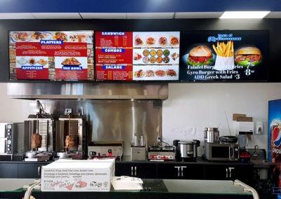 Digital Menu Board Installation, Concealed Wiring. Taste of Mediterranian, Esso Gas Station. Woodstock, Ontario -HTAV.