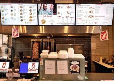 Digital Menu Board Installation, Concealed Wiring. Osmow's Modern Mediterranean Cuisine. London, Ontario -HTAV.