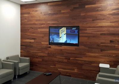 Wall Mounted TV Installation, Concealed Wiiring. Nissan Infiniti, Showroom Waiting Area. London, Ontario -HTAV.