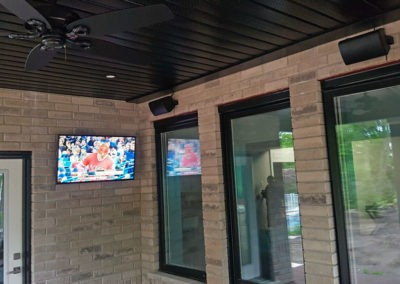 Outdoor TV Mounting and Zoned Audio Installation, Concealed Wiring. Residential Patio. Waterloo, Ontario -HTAV.