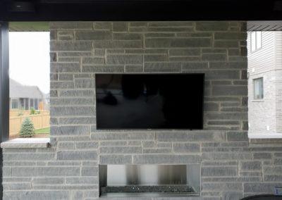 Outdoor TV Mounting, Concealed Wiring. Residential Backyard. London, Ontario -HTAV.