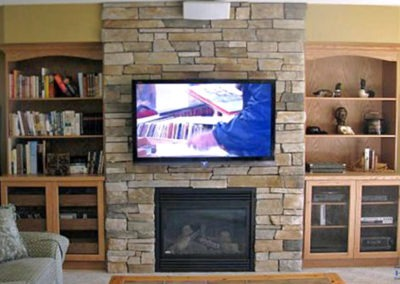 Fireplace TV Mounting, Surround Sound Installation, Concealed Wiring. Residential Living Room. London, Ontario -HTAV.