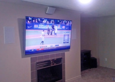 Fireplace TV Mounting, In-wall Surround Sound Installation, Concealed Wiring. Residential Living Room. London, Ontario -HTAV.