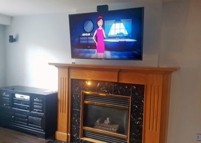 Fireplace TV Mounting- Mantel Mount, Surround Sound Installation, Concealed Wiring. Residential Living Room. London, Ontario -HTAV.