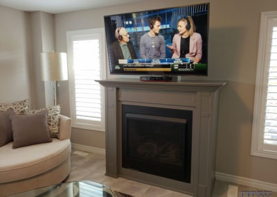 Fireplace TV Mounting, Concealed Wiring. Residential Living Room. London, Ontario -HTAV.