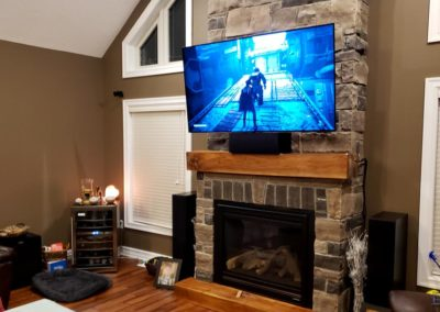 Fireplace TV Mounting, Concealed Wiring. Residential Living Room. London, Ontario -HTAV