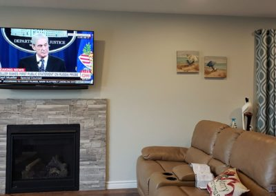 Fireplace TV Mounting, Soundbar Installation, Concealed Wiring. Residential Living Room. London, Ontario -HTAV