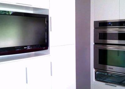 Furniture TV Mounting, Concealed Wiring. Residential Kitchen. London, Ontario -HTAV.