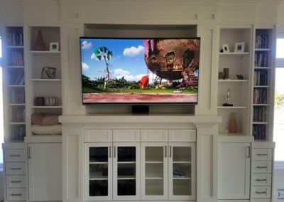 Furniture TV Mounting, In-ceiling Surround Sound Installation, Concealed Wiring. Residential Living Room. London, Ontario -HTAV.
