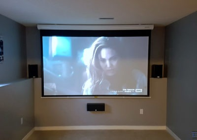 Home Theatre Design and Installation. Projector and Screen Installation, Surround Sound Installation, Concealed Wiring. Residential Basement. London, Ontario -HTAV.