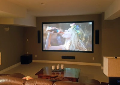 """Home Theatre Design and Installation. Projector and 120"""" Screen Installation, Concealed Wiring, Dolby Atmos Surround Sound Installation. Residential Basement. London, Ontario -HTAV."""