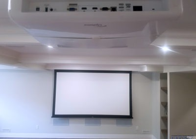 Project Pre-wiring. Home Theatre Design and Installation. Projector and Screen Installation, Concealed Wiring, In-wall and In-ceiling Surround Sound Installation. Residential Basement. St. Thomas, Ontario -HTAV.
