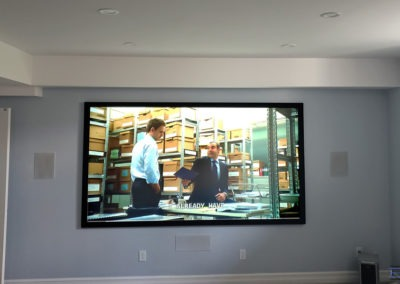 Home Theatre Design and Installation. Projector and Screen Installation, Concealed Wiring, In-wall Surround Sound Installation. Residential Basement. London, Ontario -HTAV.