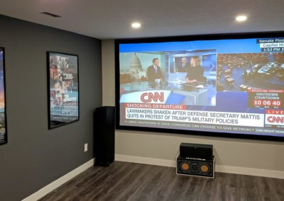 Home Theatre Design and Installation. Projector and Screen Installation, Concealed Wiring. Surround Sound Installation. Residential Basement. London, Ontario -HTAV.