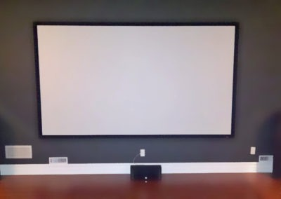 Home Theatre Design and Installation. Projector and Screen Installation, Concealed Wiring. Residential Basement. London, Ontario -HTAV.