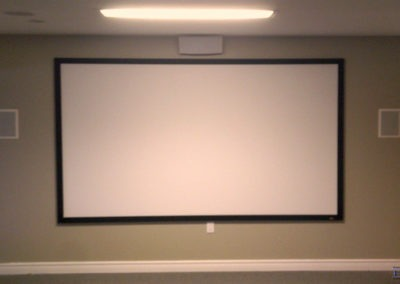 Home Theatre Design and Installation. Projector and Screen Installation, Concealed Wiring, In-wall and In-ceiling Surround Sound Installation. Residential Basement. London, Ontario -HTAV.
