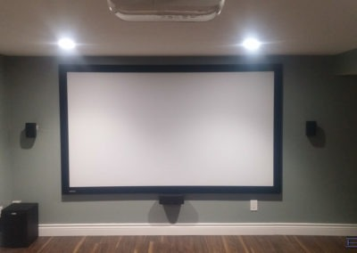 Home Theatre Design and Installation. Projector and Screen Installation, Concealed Wiring, Surround Sound Installation. Residential Basement. London, Ontario -HTAV.