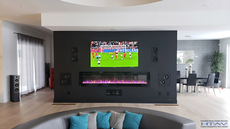 """Home Theatre Design and Installation. 75"""" TV Installation, In-wall front LCR & Subwoofer Installation, Concealed Wiring. Residential Living Room. London, Ontario -HTAV."""
