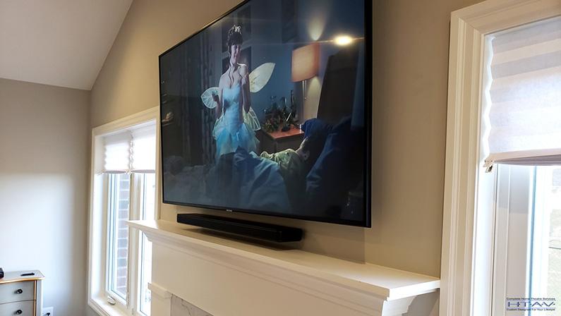 Fireplace TV Mounting, Soundbar Installation, Concealed Wiring. Bose Soundbar 500 with wireless Bose Bass Module 500. Residential Living Room. London, Ontario -HTAV.