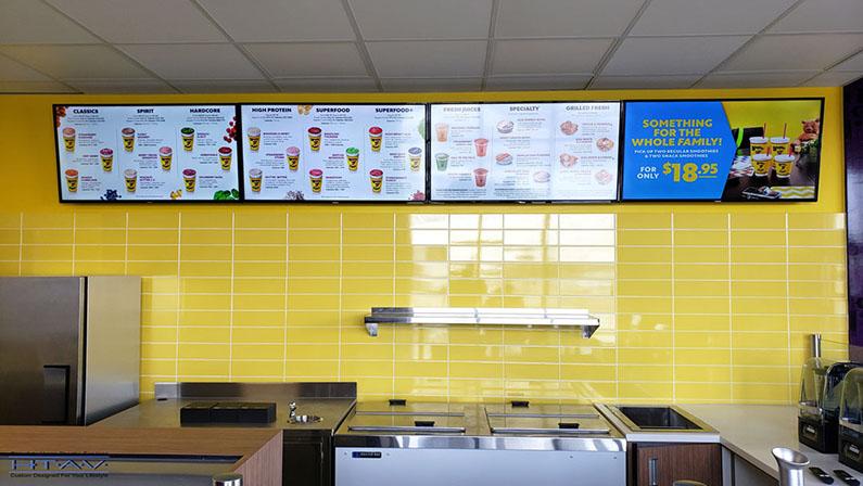 Digital Menu Board Installation, Concealed Wiring. Booster Juice, Wonderland Power Center. London, Ontario -HTAV.