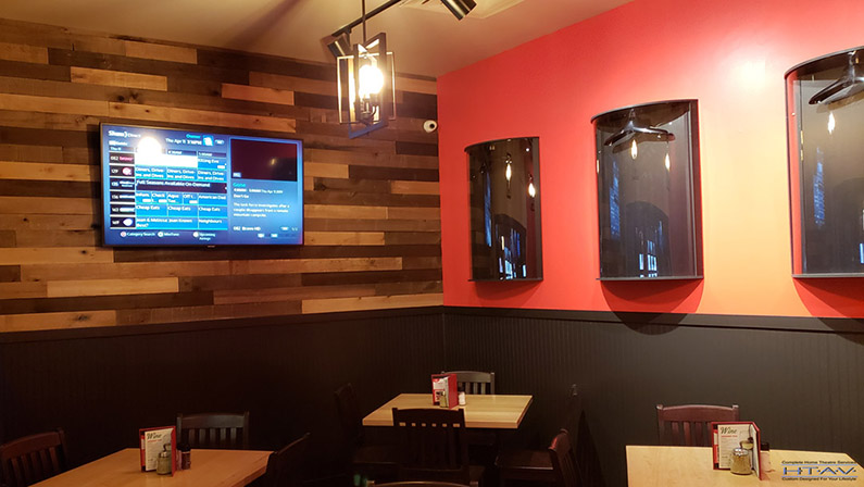 TV Ceiling Mounting, Concealed Wiring. East Side Mario's, Dining Area. Woodstock, Ontario -HTAV.