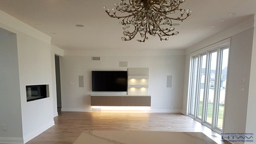 Wall Mounted TV Installation, Surround Sound System Setup, Concealed Wiring, London, Ontario.