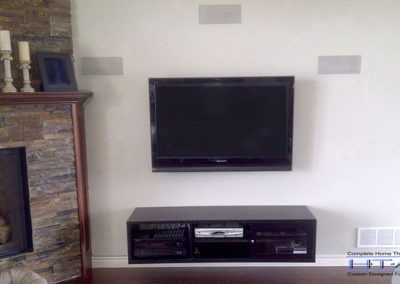 TV Wall Mounting, In-wall Surround Sound Installation, Concealed Wiring. Residential Living Room. London, Ontario -HTAV.