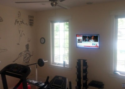 TV Wall Mounting, Concealed Wiring. Residential Fitness Room. London, Ontario -HTAV.
